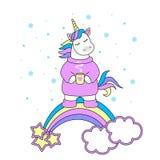 Sweet magic with a unicorn, rainbow, stars. Christmas greetings. Vector illustration. stock illustration
