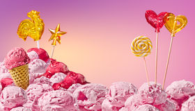 Sweet magical landscape of ice cream and candy Stock Photo