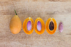 Sweet Marian plum thai fruit and cleaving by showing seed inside Stock Photography