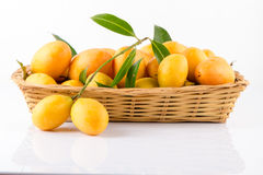 sweet Marian plum thai fruit on white background (Mayongchid Map Stock Photos
