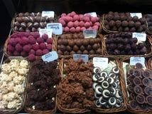 Sweet market. Chocolate sweet shop at St.Josep market ,Barcelona Stock Photo