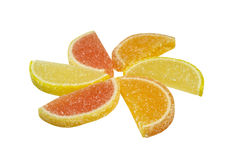 Sweet. Marmalade slices arranged in a circle on isolated background Stock Image