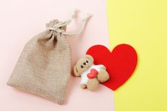 Marshmallow bear with red heart valentine`s day concept. Royalty Free Stock Photos