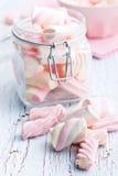 Sweet marshmallow in jar Stock Photos