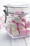 Sweet marshmallows in glass jar Stock Photos