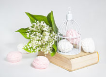 Sweet marshmallows and lilies of the valley Stock Image