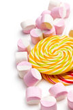 Sweet marshmallows and lollipop Stock Images