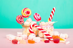 Sweet marshmallows with lollipop Stock Photography