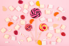 Sweet marshmallows with lollipop Royalty Free Stock Photography