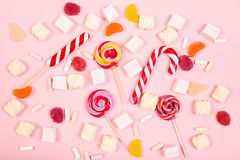 Sweet marshmallows with lollipop Stock Photos