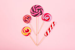 Sweet marshmallows with lollipop Royalty Free Stock Image