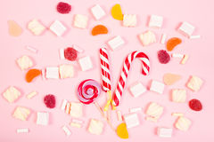 Sweet marshmallows with lollipop Royalty Free Stock Images