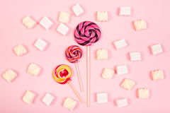 Sweet marshmallows with lollipop Royalty Free Stock Photos
