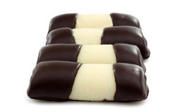 Sweet marzipan chocolate rolls Stock Images