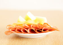 Sweet melon and ham Royalty Free Stock Image
