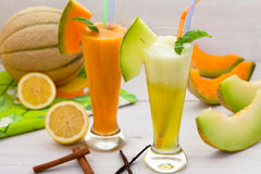 Sweet melon juice and smoothie Royalty Free Stock Photos