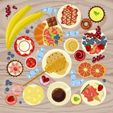 Sweet menu for cofee break. Breakfast, lunch or dinner. Top view Vector illustration eps 10 Royalty Free Stock Photography