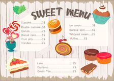 Sweet menu for confectionery. Royalty Free Stock Photos