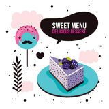 Sweet menu Delicious dessert blackberry cake lollipop set background Royalty Free Stock Image