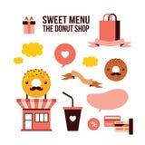 Sweet menu Delicious dessert Donut shop Food design element set Royalty Free Stock Photos