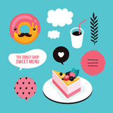 Sweet menu Food Delicious dessert Berry cheesecake donut coffee set Stock Photo