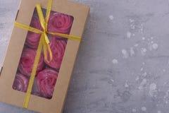 Sweet meringues in gift box Stock Image