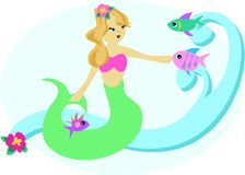 Sweet Mermaid with Fish Stock Images