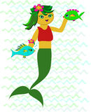Sweet Mermaid with Fish Friends Stock Image