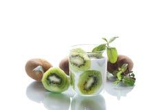 Sweet milk organic yogurt with slices of kiwi Royalty Free Stock Image
