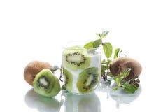 Sweet milk organic yogurt with slices of kiwi Royalty Free Stock Photo