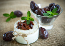 Sweet milk yogurt with prunes Royalty Free Stock Image