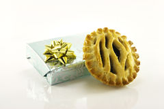 Sweet Mince Pie and Gift Stock Photos
