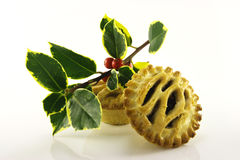 Sweet Mince Pies and Holly Royalty Free Stock Photos