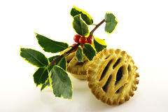 Sweet Mince Pies and Holly Stock Images