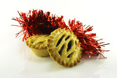 Sweet Mince Pies and Tinsel Stock Image