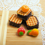 Sweet mini cakes with strawberry royalty free stock photos