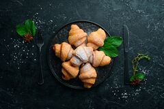Free Sweet Mini Croissants With Jam. Baking. Top View, Royalty Free Stock Photos - 195934828