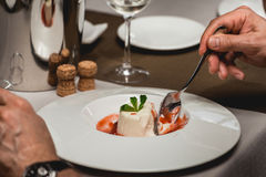 Sweet mini dessert with strawberry on a plate in the expensive restaurant. close view Stock Image