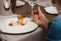 Sweet mini dessert with strawberry on a plate in the expensive restaurant. close view Royalty Free Stock Photos
