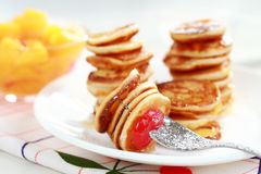 Sweet mini pancakes Stock Photo