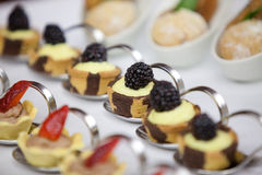 Sweet minicakes with fruits Royalty Free Stock Photo