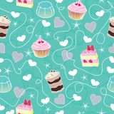 Sweet mint valentine desserts pattern Stock Photos