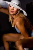 Sweet model wearing sexy light blue night wear Stock Photography