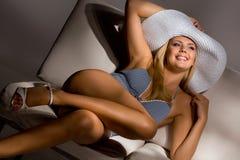 Sweet model wearing sexy light blue night wear Royalty Free Stock Photo
