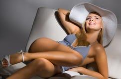Sweet model wearing sexy light blue night wear Stock Photo
