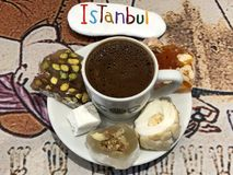 Sweet moment at the bar with a turkish coffee and turkish delights at Istanbul Stock Image