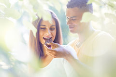 Sweet moments - eating chocolate Stock Images