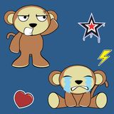 Sweet monkey cartoon expressions set crying Royalty Free Stock Photo
