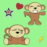 Sweet monkey cartoon expressions set happy Stock Photography