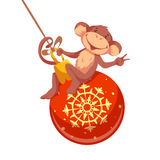 Sweet monkey with Christmas toy for 2016 New Year. Vector illustration royalty free illustration